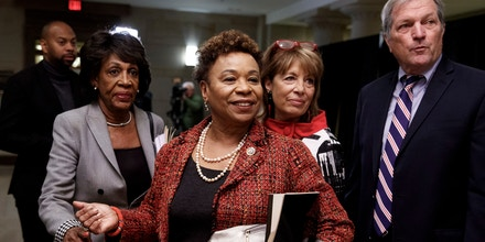 From left, Rep. Maxine Waters, D-Calif., Rep. Barbara Lee, D- Calif., Rep. Jackie Speier, D-Calif., and Rep. Mark DeSaulnier, D-Calif., walk from Democratic Caucus leadership elections Capitol Hill in Washington, Wednesday, Nov. 28, 2018. House Minority Leader Nancy Pelosi, D-Calif., has been nominated by House Democrats to lead them in the new Congress. (AP Photo/Carolyn Kaster)