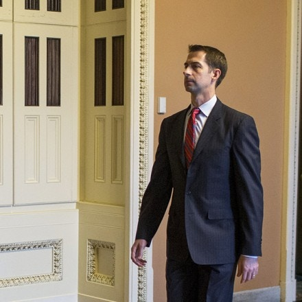 WASHINGTON, DC - AUGUST 21: Sen. Tom Cotton (R-AR) leaves a weekly policy luncheon on Capitol Hill  on August 21, 2018 in Washington, DC. (Photo by Zach Gibson/Getty Images)