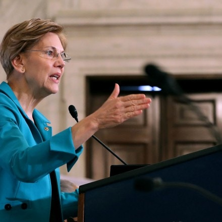 WASHINGTON, DC - NOVEMBER 13:  Sen. Elizabeth Warren (D-MA) addresses the Rev. Al Sharpton's National Action Network during a post-midterm election meeting in the Kennedy Caucus Room at the Russell Senate Office Building on Capitol Hill November 13, 2018 in Washington, DC. Politicians believed to be considering a run for the 2020 Democratic party nomination, including Warren and Sen. Kamala Harris (D-CA), addressed the network meeting to talk about their legislative priorities. (Photo by Chip Somodevilla/Getty Images)