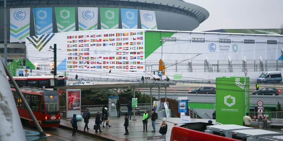 Main Entrance building and SPodek during COP 24, the 24th Conference of the Parties to the United Nations Framework Convention on Climate Change. Katowice, Poland on 12 December, 2018.  (Photo by Beata Zawrzel/NurPhoto via Getty Images)