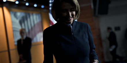 House Minority Leader Nancy Pelosi, a Democrat from California, exits after a news conference on Capitol Hill in Washington, D.C., U.S., on Thursday, Dec. 13, 2018. House Republican leaders sent their members home for a six-day break today without revealing any plan to avoid a looming government shutdown. Photographer: Andrew Harrer/Bloomberg via Getty Images