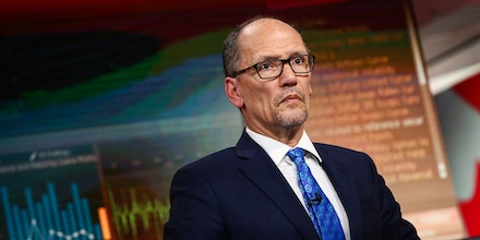 Tom Perez, chairman of the Democratic National Committee, listens during a Bloomberg Television interview in New York, U.S., on Wednesday, Jan. 31, 2018. Perez said U.S. President Donald Trump's immigration proposals will hurt the economy. Photographer: Christopher Goodney/Bloomberg via Getty Images