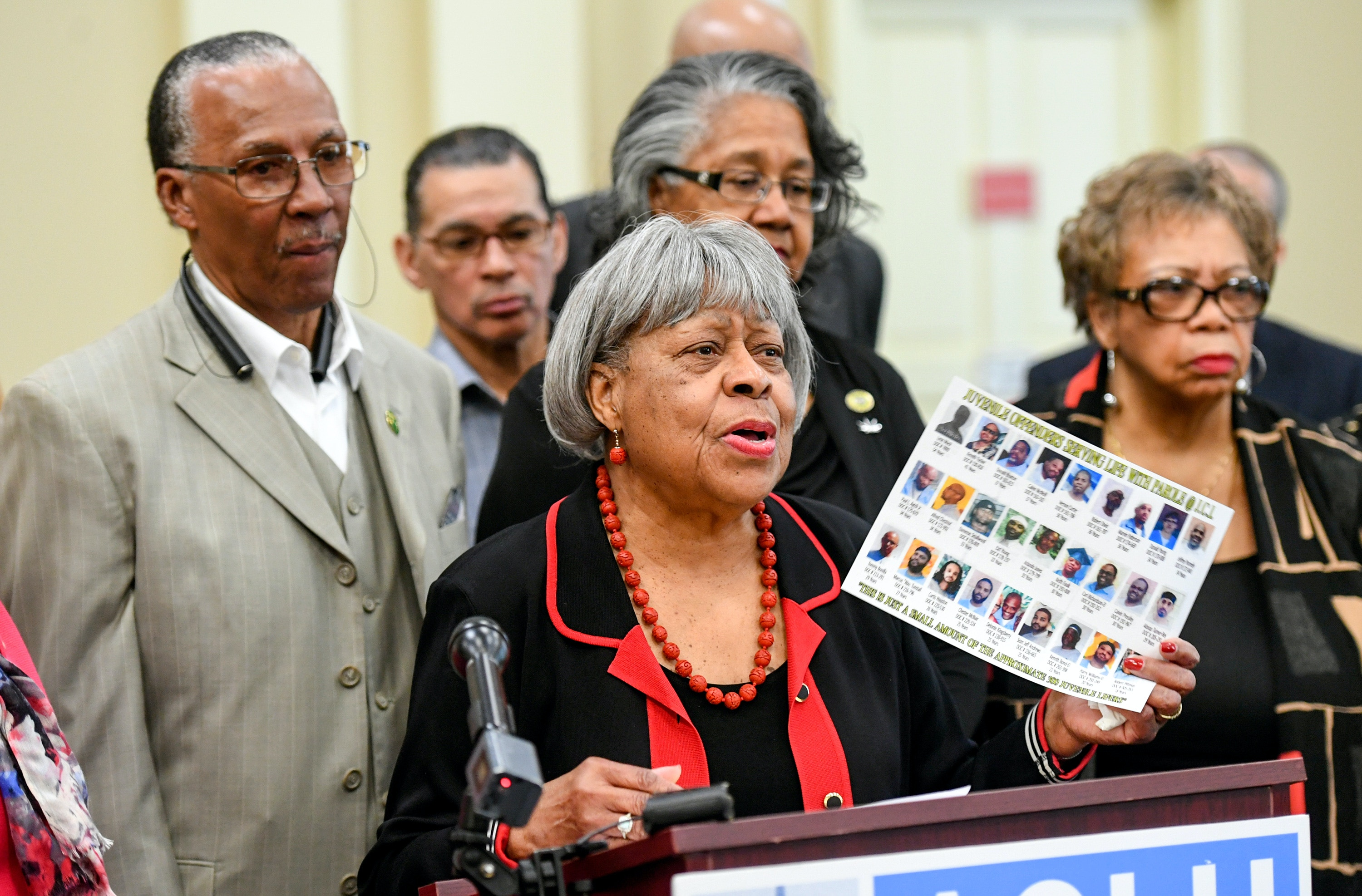 ANNAPOLIS, MD - FEBRUARY 1:  Maryland Senator Delores Kelley shows a page of people still serving life terms ,during a press conference organized in part by the ACLU of Maryland and Legislators in Annapolis proposing to take the governor -- and politics -- out of the parole process for people serving life in prison. Many who were juvenile offenders when they committed their crimes.(Photo by Jonathan Newton/The Washington Post via Getty Images)