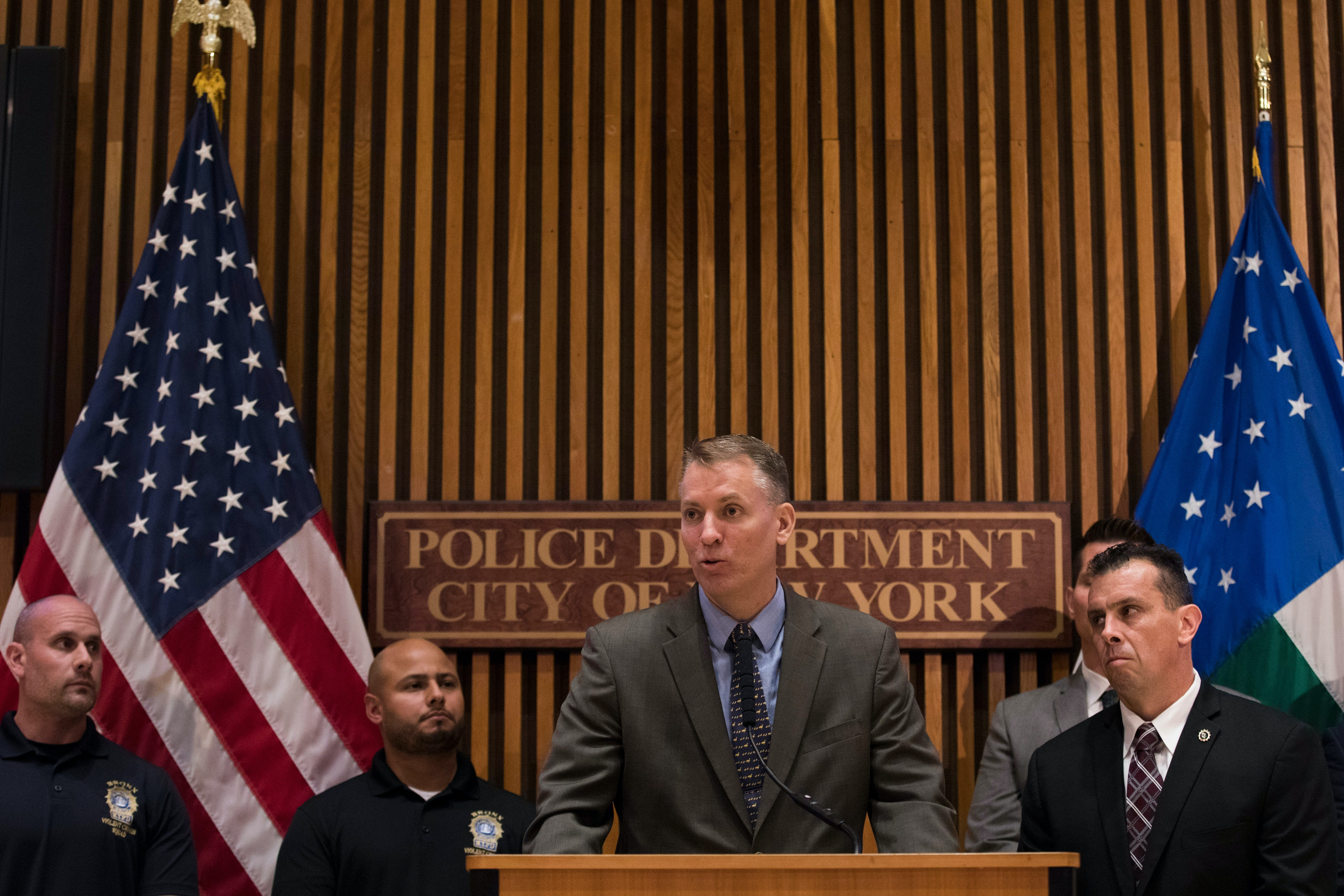 NEW YORK, NY - JUNE 27: NYPD Chief of Detectives Dermot Shea speaks during a press conference about gang violence at New York City Police Department (NYPD) headquarters, June 27, 2018 in New York City. Law enforcement officials announced the arrest of alleged members of the Bronx-based Mac Balla gang following a months-long investigation. The NYPD is also currently investigating the Trinitarios gang, who were responsible for the recent murder of a 15-year old in The Bronx.  (Photo by Drew Angerer/Getty Images)
