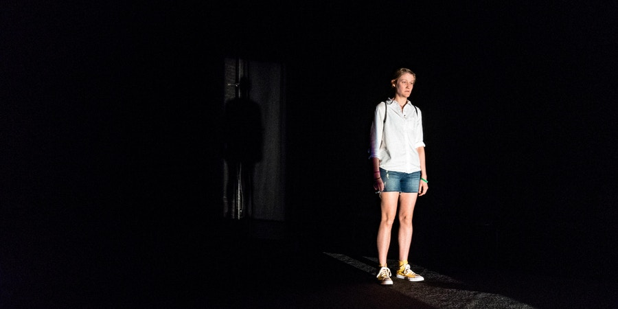 Actor Emily Davis rehearsing as Reality Winner at The Kitchen Theater for the play