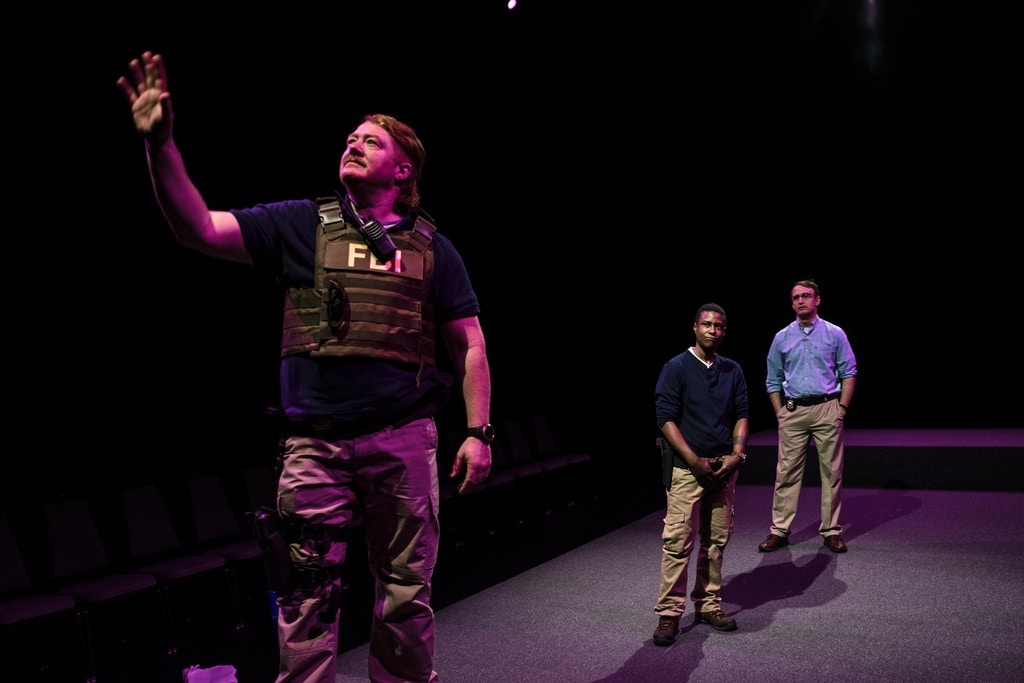 "Becca Blackwell, left, T.L Thompson,center, and Pete Simpson,right, rehearsing as FBI agents in the play ""Is This A Room: REALITY WINNER VERBATIM TRANSCRIPTION"" on Saturday, Dec. 22,2018,in Manhattan,NY. The play reenacts the interrogation of Reality Winner at her home by three FBI agents where she was charged for leaking information of Russian interference in the US voting system."