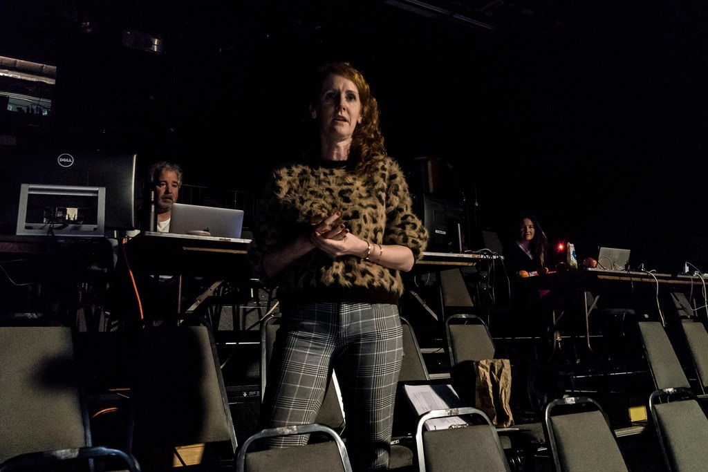 "Director Tina Satter at a rehearsal for the play ""Is This A Room: REALITY WINNER VERBATIM TRANSCRIPTION""on Saturday, Dec. 22,2018,in Manhattan,NY. The play reenacts the interrogation of Reality Winner at her home by three FBI agents where she was charged for leaking information of Russian interference in the US voting system."