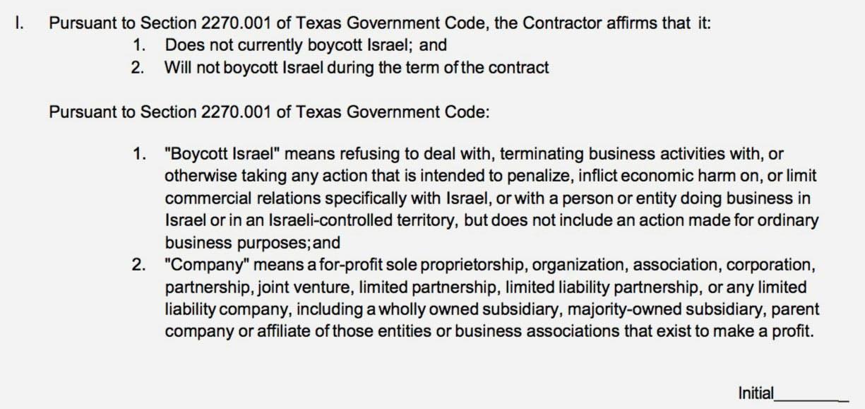 """Contrato recebido pela fonoaudióloga em que ela devia alegar """"não estar boicotando Israel"""" e """"não vir a boicotar Israel durante o período contratual""""."""