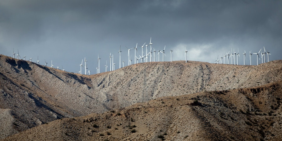 Turbinas do Parque Eólico de San Gorgonio Pass, na Califórnia, em setembro de 2017.