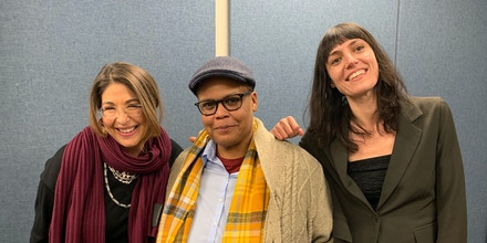 Naomi Klein, Keeanga-Yamahtta Taylor, and Astra Taylor in the WPRB studio in Princeton, N.J.