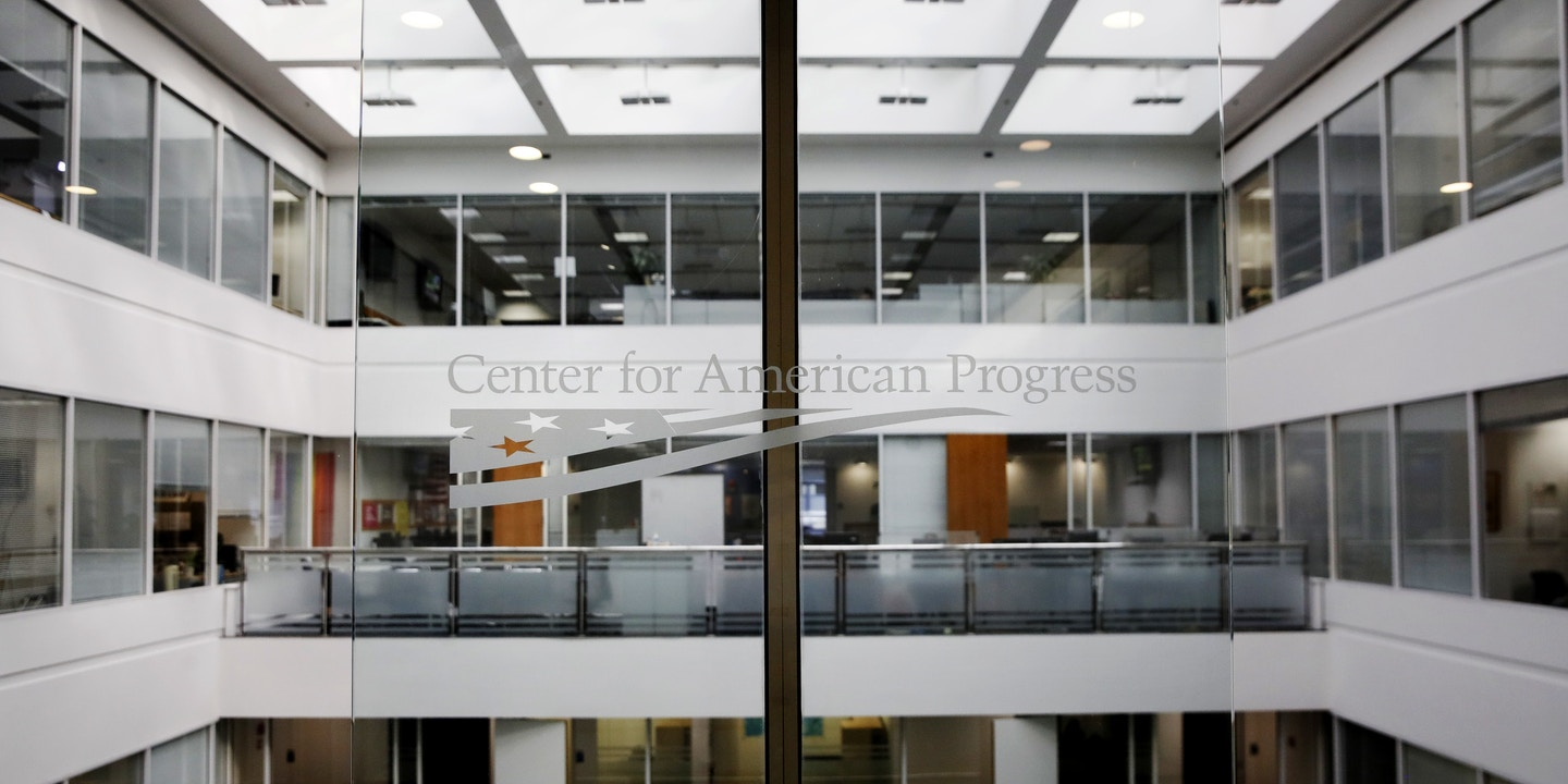 "The logo for the Center for American Progress in seen, Wednesday, Feb. 21, 2018, at their office in Washington. The major liberal policy group is raising the ante on the health care debate with a new plan that builds on Medicare to guarantee coverage for all. Called ""Medicare Extra for All,"" the proposal to be released Feb. 22, 2018, by the Center for American Progress gives politically energized Democrats more options to achieve a long-sought goal. (AP Photo/Jacquelyn Martin)"