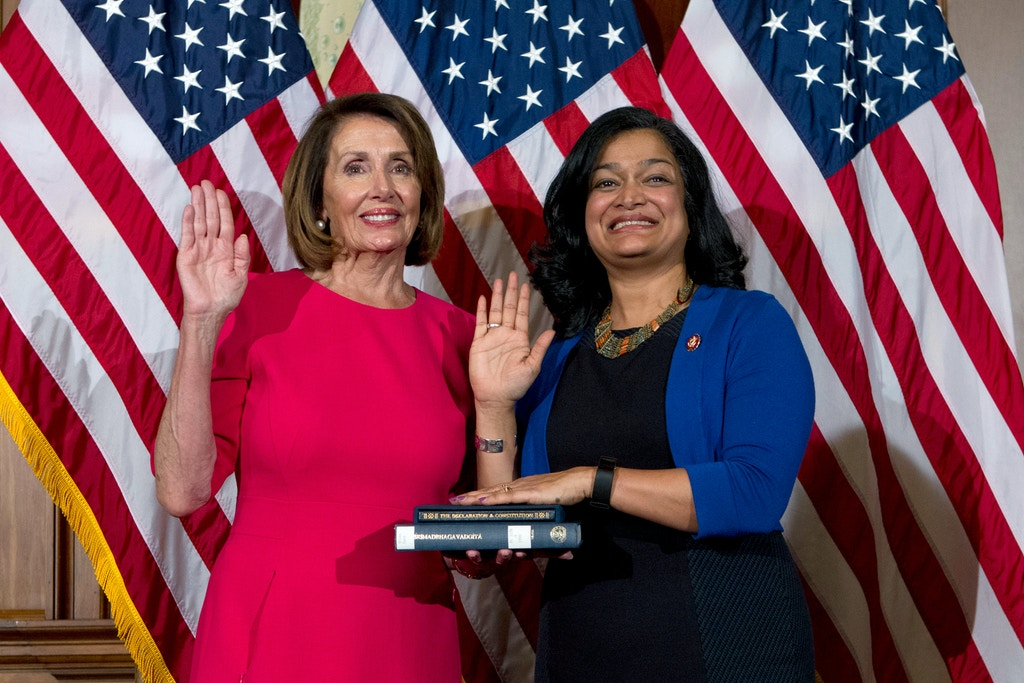 House Speaker Nancy Pelosi of Calif., administers the House oath of office to Rep. Pramila Jayapal, D-Wash., during ceremonial swearing-in on Capitol Hill in Washington, Thursday, Jan. 3, 2019, during the opening session of the 116th Congress. (AP Photo/Jose Luis Magana)