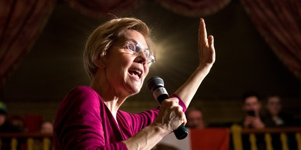 Democratic Sen. Elizabeth Warren of Massachusetts speaks at a campaign event at Orpheum Theatre in Sioux City, Iowa on Saturday, Jan. 5, 2019. Warren  is getting a chance to test her skills as a presidential candidate during a trip to Iowa, a key early voting state on the 2020 election calendar.    (Justin Wan/Sioux City Journal via AP)