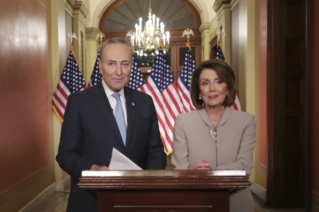 WASHINGTON, DC - JANUARY 08: Speaker of the House Nancy Pelosi (D-CA) (R) and Senate Minority Leader Charles Schumer (D-NY) pose for photographs after delivering a televised response to President Donald Trump's national address about border security at the U.S. Capitol January 08, 2019 in Washington, DC. Republicans and Democrats seem no closer to an agreement on security along the southern border and ending the partial federal government shutdown, the second-longest in history. Credit: Chip Somodevilla / Pool via CNP | usage worldwide Photo by: Chip Somodevilla/picture-alliance/dpa/AP Images