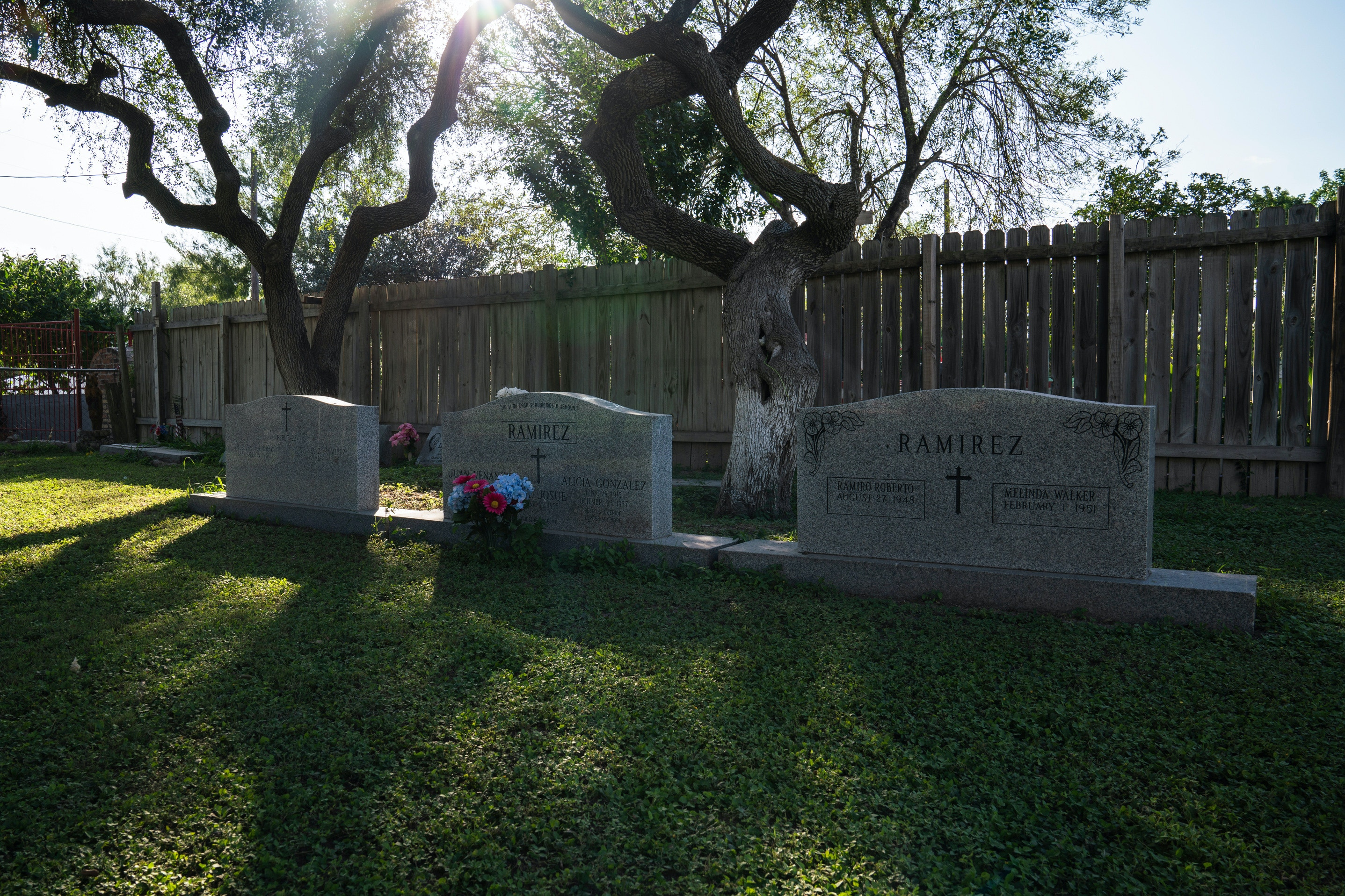 Ramiro Roberto Ramírez's parent's graves at the Martin Jackson Church and Cemetery in San Juan, Tex. on Nov. 6, 2018. Ramírez, his wife and sister will be buried there where their headstones are already engraved with their names. The new proposed wall would leave this property on the south side of it.Photo: Verónica G. Cárdenas for The Intercept