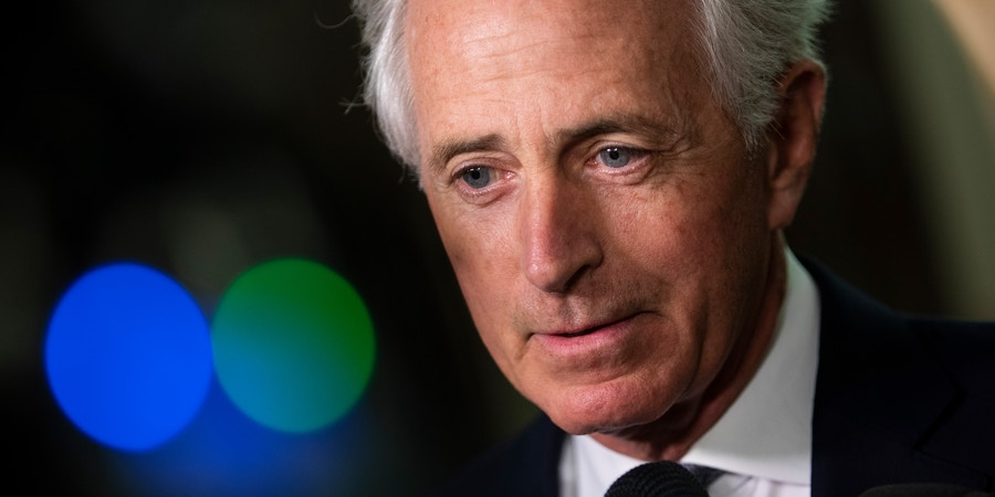 WASHINGTON, DC - SEPTEMBER 25: Sen. Bob Corker (R-TN) speaks to reporters about Supreme Court nominee Brett Kavanaugh on the way to his office on Capitol Hill, September 25, 2018 in Washington, DC. Christine Blasey Ford, who has accused Kavanaugh of sexual assault, has agreed to testify before the Senate Judiciary Committee on Thursday. (Photo by Drew Angerer/Getty Images)