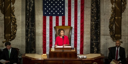 U.S. House Speaker Nancy Pelosi, a Democrat from California, speaks during the opening of the 116th Congress in the House Chamber in Washington, D.C., U.S., on Thursday, Jan. 3, 2019. Pelosi was elected speaker of the House of Representatives in a triumphant return to the post as Democrats took power Thursday with the authority to investigate President Donald Trump and perhaps begin impeachment proceedings. Photographer: Al Drago/Bloomberg via Getty Images