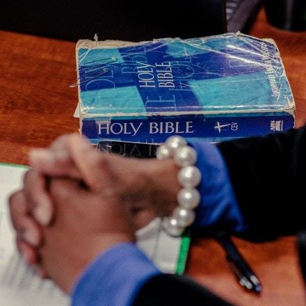 GREENVILLE, SC - NOVEMBER 28:A copy of the Bible rests on a conference room table at Miracle Hill Ministries in Greenville, South Carolina on November 28, 2018. (Photo by Jacob Biba for The Washington Post via Getty Images)