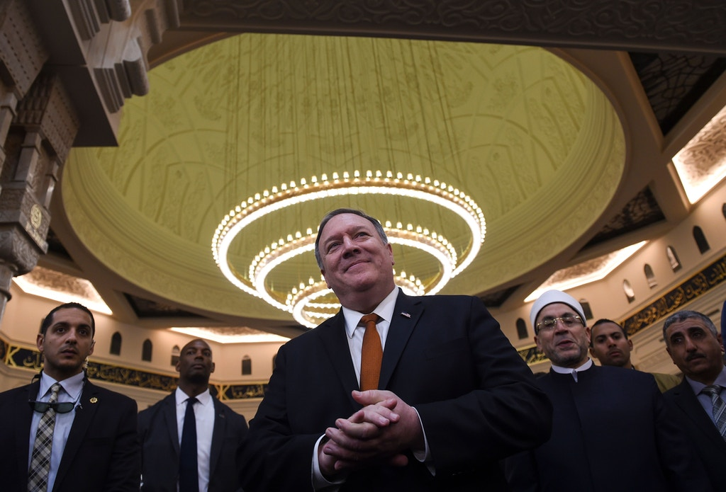 US Secretary of State Mike Pompeo (C) speaks to the press during a tour of the newly-inaugrated Al-Fattah Al-Alim mosque in Egypt's New Administrative Capital, 45 kilometres (28 miles) east of Cairo on January 10, 2019. - The top US diplomat is in Egypt on the latest leg of a whistle-stop regional tour aimed at shoring up Washington's Middle East policy following President Donald Trump's shock decision to withdraw 2,000 US troops from Syria. (Photo by ANDREW CABALLERO-REYNOLDS / POOL / AFP)        (Photo credit should read ANDREW CABALLERO-REYNOLDS/AFP/Getty Images)
