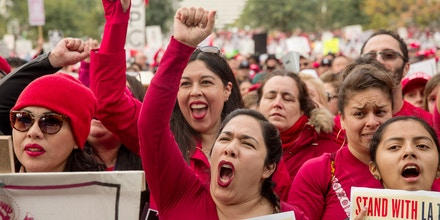 Demonstrators hold signs and shout slogans during a teachers strike in Los Angeles, California, U.S., on Friday, Jan. 18, 2019. Teachers in Los Angeles, the second-largest school district in the U.S. behind New York, have been on strike since Monday, Jan. 14, demanding higher pay, smaller class sizes, and more support staff such as nurses, librarians, and counselors. Photographer: Scott Heins/Bloomberg via Getty Images