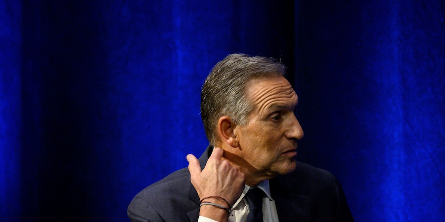 Former Chairman and CEO of Starbucks, Howard Schultz, speaks during the presentation of his book 'From The Ground Up' on January 28, 2019 in New York City. (Photo by Johannes EISELE / AFP)        (Photo credit should read JOHANNES EISELE/AFP/Getty Images)