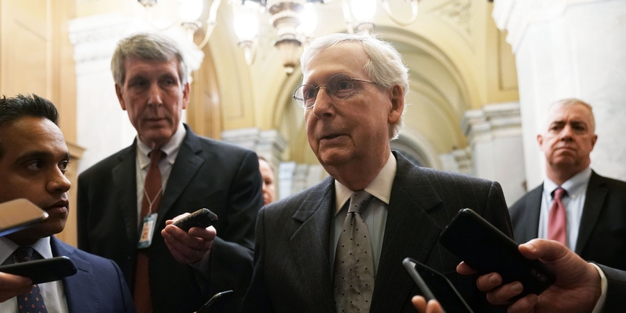 "WASHINGTON, DC - JANUARY 09: U.S. Senate Majority Leader Sen. Mitch McConnell (R-KY) speaks to members of the media after he returned to the U.S. Capitol from a meeting at the White House January 9, 2019 in Washington, DC. President Trump walked out of a meeting with congressional leaders at the White House negotiating border security funding and government shutdown, calling it ""a total waste of time.""  (Photo by Alex Wong/Getty Images)"