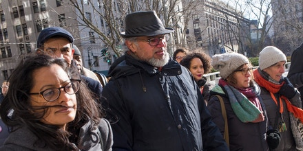 NEW YORK,  NY- JANUARY 28: New Sanctuary Coalition immigration activist Ravi Ragbir arrives with supporters, lawyers, city politicians and congresswoman Yvette Clarke for his scheduled appointment with immigration officials on January 28, 2019 at 26 Federal Plaza in New York City. Although he was facing possible detention and deportation, Ravi was released and told to reappear in six months. (Photo by Andrew Lichtenstein/Corbis via Getty Images)
