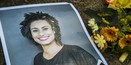 A makeshift memorial is pictured during a protest of Brazilian expats against the killing of Rio de Janeiro's left councilwoman and activist Marielle Franco in Berlin, Germany on March 18, 2018. Marielle Franco, who criticised openly racism and police brutality, was shot with his driver Anderson Pedro Gomes in the city center of Rio de Janeiro in the evening of March 14, 2018. (Photo by Emmanuele Contini/NurPhoto via Getty Images)