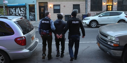 NEW YORK, NY - APRIL 11:  U.S. Immigration and Customs Enforcement (ICE), officers arrest an undocumented Mexican immigrant during a raid in the Bushwick neighborhood of Brooklyn on April 11, 2018 in New York City. New York is considered a