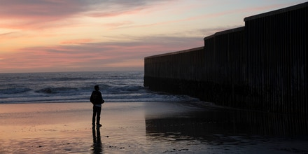 The U.S.-Mexico border wall by the beach in Tijuana, Mexico on December 23, 2018.Photo by Kitra Cahana / MAPS