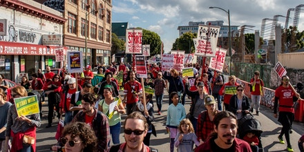 Oakland teachers, students, community groups and other supporters held a rally in Oakland, Calif., on Jan. 12, 2019, to demand the full funding of local public schools.