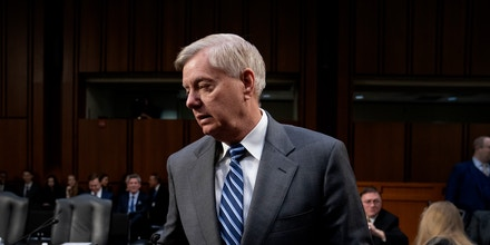 Senate Judiciary Committee Chairman Lindsey Graham, R-S.C., arrives as his panel meets to vote on the nomination of Bill Barr to be attorney general, on Capitol Hill in Washington, Thursday, Feb. 7, 2019. (AP Photo/J. Scott Applewhite)