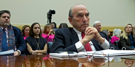 U.S. Special Representative for Venezuela Elliott Abrams testifies before the House Foreign Affairs subcommittee hearing on Venezuela at Capitol Hill in Washington, Wednesday, Feb. 13, 2019. (AP Photo/Jose Luis Magana)