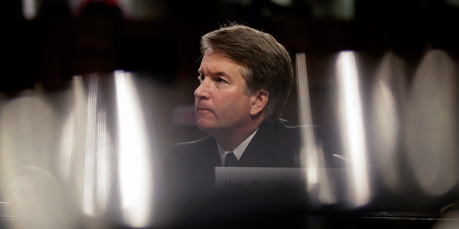 WASHINGTON, DC - SEPTEMBER 4: Judge Brett Kavanaugh listens to opening statements during his Supreme Court confirmation hearing before the Senate Judiciary Committee in the Hart Senate Office Building on Capitol Hill, September 4, 2018 in Washington, DC. Kavanaugh was nominated by President Donald Trump to fill the vacancy on the court left by retiring Associate Justice Anthony Kennedy. (Photo by Drew Angerer/Getty Images)