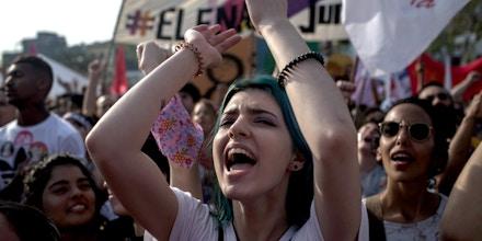 Mulheres protestam contra o então candidato à Presidência da República Jair Bolsonaro, em 29 de setembro de 2018.