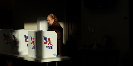 RIDGELAND, MS - NOVEMBER 27: A voter casts her ballot at a polling place at Highland Colony Baptist Church, November 27, 2018 in Ridgeland, Mississippi. Voters in Mississippi head to the polls for today's special runoff election, where  Democratic candidate for U.S. Senate Mike Espy is running in a close race with appointed Republican Senator Cindy Hyde-Smith (R-MS). (Photo by Drew Angerer/Getty Images)