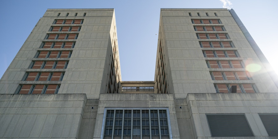 NEW YORK, NY - FEBRUARY 04: An exterior view of the Metropolitan Detention Center on February 4, 2019 in the Brooklyn borough of New York City. Power has been fully restored to the prison after inmates suffered the past week without heat and access to televisions, computers or telephones. On Monday morning, the facility received a bomb threat following a weekend of protests. (Photo by Drew Angerer/Getty Images)