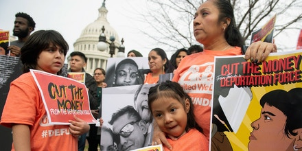 Relatives of detained individuals attend a press conference calling on Congress to cut funding for US Immigration and Customs Enforcement (ICE) and to defund border detention facilities, outside the US Capitol in Washington, DC, February 7, 2019. (Photo by SAUL LOEB / AFP)        (Photo credit should read SAUL LOEB/AFP/Getty Images)