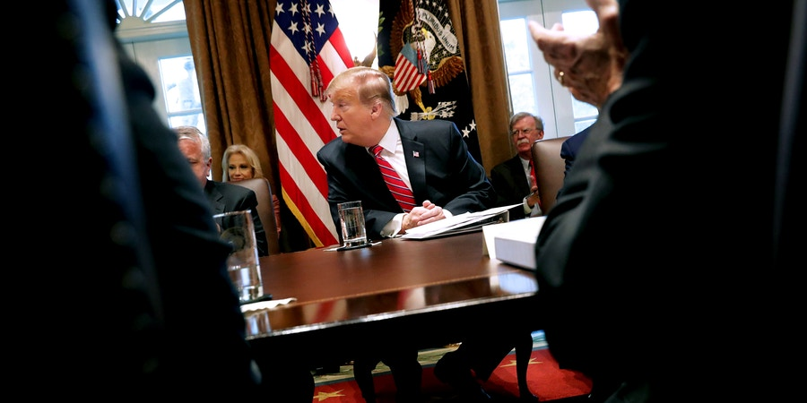 WASHINGTON, DC - FEBRUARY 12: U.S. President Donald Trump February 12, 2019 in Washington, DC. Trump said he was not happy about the compromise legislation agreed to by Republicans and Democrats that would prevent a new partial federal government shutdown but said he would accept the deal. (Photo by Chip Somodevilla/Getty Images)