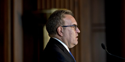 Andrew Wheeler, acting administrator of the Environmental Protection Agency (EPA), speaks to employees at the agency's headquarters in Washington, D.C., U.S., on Wednesday, July 11, 2018. Wheeler during the address promised to defend workers, heed their advice and protect the environment in his first address to employees since taking the helm of the agency from embattled former chief Scott Pruitt. Photographer: Andrew Harrer/Bloomberg via Getty Images