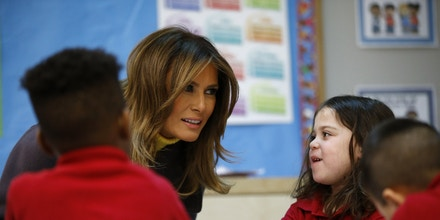 First lady Melania Trump leans in to listen to a student at Dove School of Discovery in Tulsa, Okla., Monday, March 4, 2019, during a two-day, three-state swing to promote her Be Best campaign. (AP Photo/Patrick Semansky)