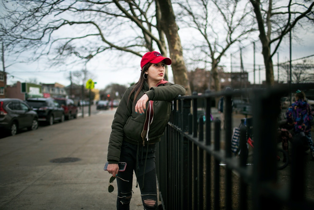Anna Chambers, 19, at a park near the Bensonhurst neighborhood of Brooklyn.