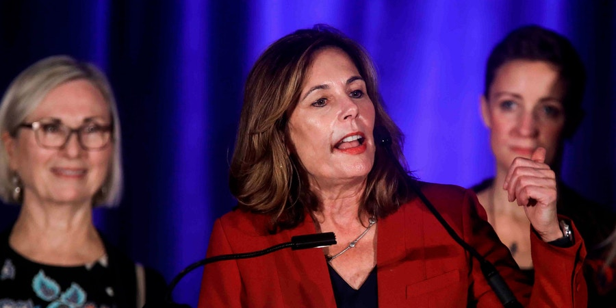 November 6, 2018 - Wilmington, Delaware, United States of America - Attorney General elect KATHLEEN JENNINGS addresses supporters during Democrat Watch Party Tuesday, Nov. 06, 2018, at the Doubletree Hotel in Wilmington, Delaware. (Credit Image: © Saquan Stimpson/ZUMA Wire) (Cal Sport Media via AP Images)