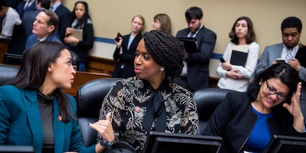 UNITED STATES - JANUARY 29: From left, Reps. Alexandria Ocasio-Cortez, D-N.Y., Ayanna Pressley, D-Mass., and Rashida Tlaib, D-Mich., attend a House Oversight and Reform Committee business meeting in Rayburn Building on Tuesday, January 29, 2019. (Photo By Tom Williams/CQ Roll Call via AP Images)