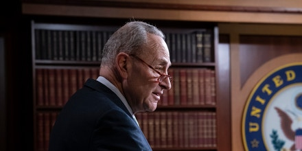 Senate Democratic Leader Chuck Schumer of N.Y., speaks with reporters after the Senate rejected President Donald Trump's declaration of a national emergency at the southwest border, at the Capitol in Washington, Thursday, March 14, 2019. Twelve Republicans joined Democrats in defying Trump. (AP Photo/J. Scott Applewhite)