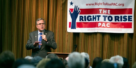 Former Florida Gov. Jeb Bush speaks to senior citizens during a discussion and question and answer session at the Mountain Shadows Community Center in Las Vegas Monday, March 2, 2015. Bush distanced himself from his family on Monday as he courted senior citizens in Nevada, the first stop in a national tour aimed at key states on the presidential primary calendar. (AP Photo/Las Vegas Sun, Steve Marcus)
