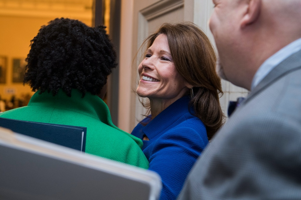 UNITED STATES - NOVEMBER 29: Rep. Cheri Bustos, D-Ill., arrives for the House Democrats' leadership elections in Longworth Building on November 29, 2018. (Photo By Tom Williams/CQ Roll Call)