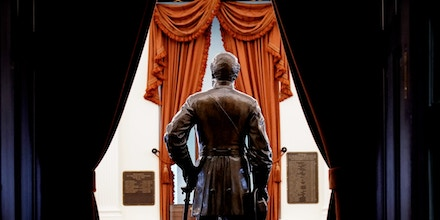 RICHMOND, VA - FEBRUARY 07: A statue of Confederate General Robert E. Lee stands in the Old House Chamber at the Virginia State Capitol, February 7, 2019 in Richmond, Virginia. Virginia state politics are in a state of upheaval, with Governor Ralph Northam and State Attorney General Mark Herring both admitting to past uses of blackface and Lt. Governor Justin Fairfax accused of sexual misconduct. (Photo by Drew Angerer/Getty Images)