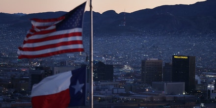 EL PASO, TEXAS - JANUARY 19:   The skyline of El Paso and Ciudad Juarez, Mexico is seen on January 19, 2019 in El Paso, Texas. The U.S. government is partially shutdown as President Donald Trump is asking for $5.7 billion to build additional walls along the U.S.-Mexico border and the Democrats oppose the idea. (Photo by Joe Raedle/Getty Images)