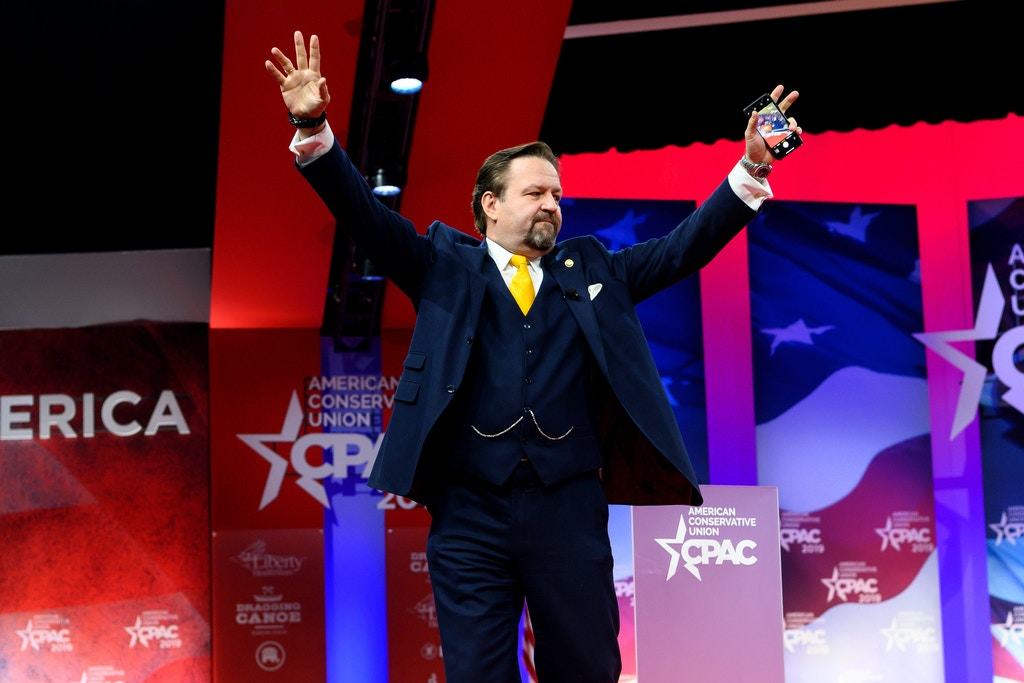 OXON HILL, MD, UNITED STATES - 2019/02/28: Sebastian Gorka, former Deputy Assistant to President Trump, seen speaking during the American Conservative Union's Conservative Political Action Conference (CPAC) at the Gaylord National Resort